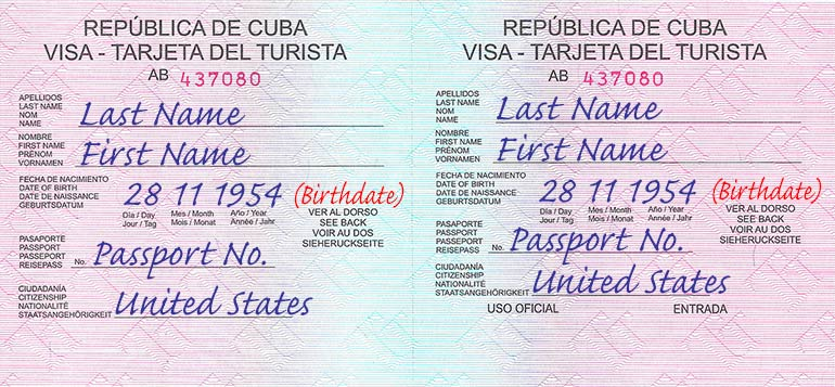 Cuban tourist visas for Americans.